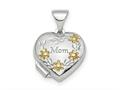 Finejewelers Sterling Silver Rhodium-plated and Gold-tone Floral Mom Heart Locket Pendant Necklace 18 inch chain include