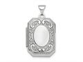 Finejewelers Sterling Silver Rhodium-plated Polished Fancy Scroll 21mm Octagonal Locket Pendant Necklace 18 inch chain i