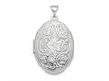 Finejewelers Sterling Silver Rhodium-plated Polished 26mm Patterned Oval Locket Pendant Necklace 18 inch chain included