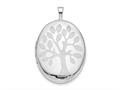 Finejewelers Sterling Silver Rhodium-plated 20mm Tree Oval Locket Pendant Necklace 18 inch chain included