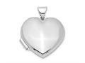 Finejewelers Sterling Silver Rhodium-plated Plain 18mm Heart Locket Pendant Necklace 18 inch chain included