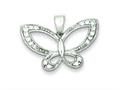 Sterling Silver Cubic Zirconia Butterfly Pendant - Chain Included