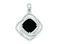 Sterling Silver Onyx Square Pendant Necklace - Chain Included