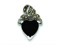 Sterling Silver Marcasite And Onyx Heart Pendant Necklace - Chain Included
