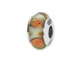 Reflections™ Sterling Silver White/Orange Hand-blown Glass Bead / Charm