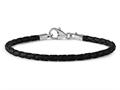 Reflections Sterling Silver Black Leather Lobster Clasp Bead Bracelet 7.00 inches