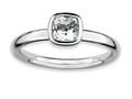 Stackable Expressions Sterling Silver Cushion Cut White Topaz Stackable Ring