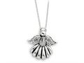 Sentimental Expressions(tm) Sterling Silver Antiqued Angel of Remembrance 18 Inch Necklace