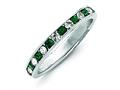 Finejewelers Sterling Silver Green and White Cubic Zirconia Eternity Band