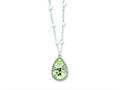 "Sterling Silver 18""green Amethyst and Rainbow Moonstone Necklace"