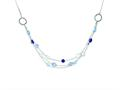 Sterling Silver Antiqued Multi Strand Blue/clear Cubic Zirconia 18in. Necklace