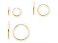 14k Madi K Polished 3-pair Set - Endless Hoop Children Earrings