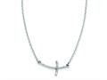 Finejewelers 14k White Gold Small Sideways Curved Twist Cross Necklace