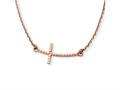 Finejewelers 14k Rose Gold Sideways Curved Textured Cross Necklace