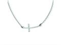 Finejewelers 14k White Gold Sideways Curved Textured Cross Necklace
