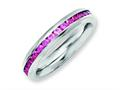 Chisel Stainless Steel 4mm July Dark Pink CZ Ring
