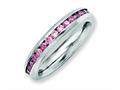 Chisel Stainless Steel 4mm June Pink CZ Ring
