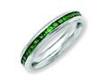 Chisel Stainless Steel 4mm May Green CZ Ring