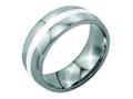 Chisel Stainless Steel Sterling Silver Inlay 8mm Polished Weeding Band