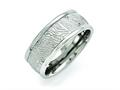 Chisel Stainless Steel Polished 9mm Textured Rounded Edge Ring