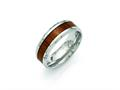Chisel Stainless Steel Polished Red/orange Wood Enameled 8.00mm Ring