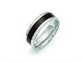 Chisel Stainless Steel Polished Black Wood Inlay Enameled 8.00mm Ring
