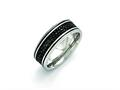 Chisel Stainless Steel Polished Black Ip-plated/genuine Stingray Textured Ring