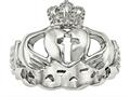 Chisel Stainless Steel Polished Claddagh With Cross Ring