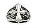 Chisel Stainless Steel Antiqued Cross and Caviar Ring