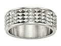 Chisel Stainless Steel Polished Studded Ring