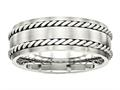 Chisel Stainless Steel Brushed W/silver Double Twist Inlay Ring