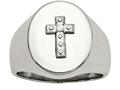 Chisel Stainless Steel Polished Cross CZ Signet Ring
