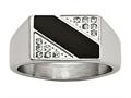 Chisel Stainless Steel Polished Black Enameled CZ Signet Ring