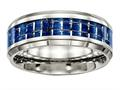 Chisel Stainless Steel Polished Blue/white Carbon Fiber Inlay Ring