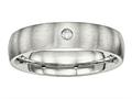 Chisel Stainless Steel Brushed Half Round CZ Ring