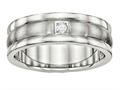 Chisel Stainless Steel Polished And Brushed Grooved CZ Ring