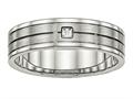 Chisel Stainless Steel Brushed And Polished Grooved CZ Ring