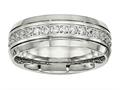 Chisel Stainless Steel Polished Half Round Grooved CZ Ring