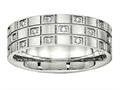 Chisel Stainless Steel Brushed Grooved CZ Ring