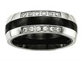 Chisel Stainless Steel Polished Black Ceramic CZ Ring