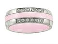 Chisel Stainless Steel Polished Pink Ceramic CZ Ring