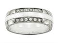 Chisel Stainless Steel Polished White Ceramic CZ Ring