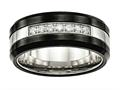 Chisel Stainless Steel Polished Black Ceramic CZ Beveled Edge Ring