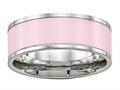 Chisel Stainless Steel Polished Pink Ceramic Ring