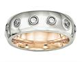 Chisel Stainless Steel Polished Rose Ip CZ Half Round Ring
