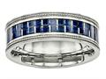 Chisel Stainless Steel Polished W/ Blue Carbon Fiber Textured Edge Ring