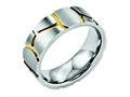 Chisel Stainless Steel Grooved Yellow Ip-plated Mens 8mm Brushed Weeding Band