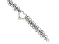 Chisel Stainless Steel Polished Circles W/heart 7.5in Bracelet