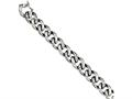 Chisel Stainless Steel Antiqued and Polished Links 8.5in Bracelet