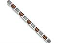 Chisel Stainless Steel Orange And Black Rubber Polished Bracelet